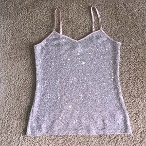 Express tank top pink sequin size small